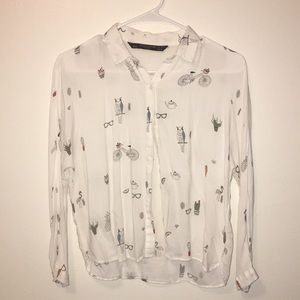 ‼️Sale‼️ Zara Shirt with cute paintings